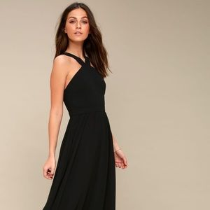 Lulu Air of Romance Black Maxi Dress